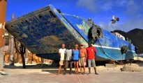 Barge removal team - Boardwalk