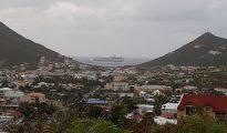 Cruise ship seen between valley hills - 20180112 TR