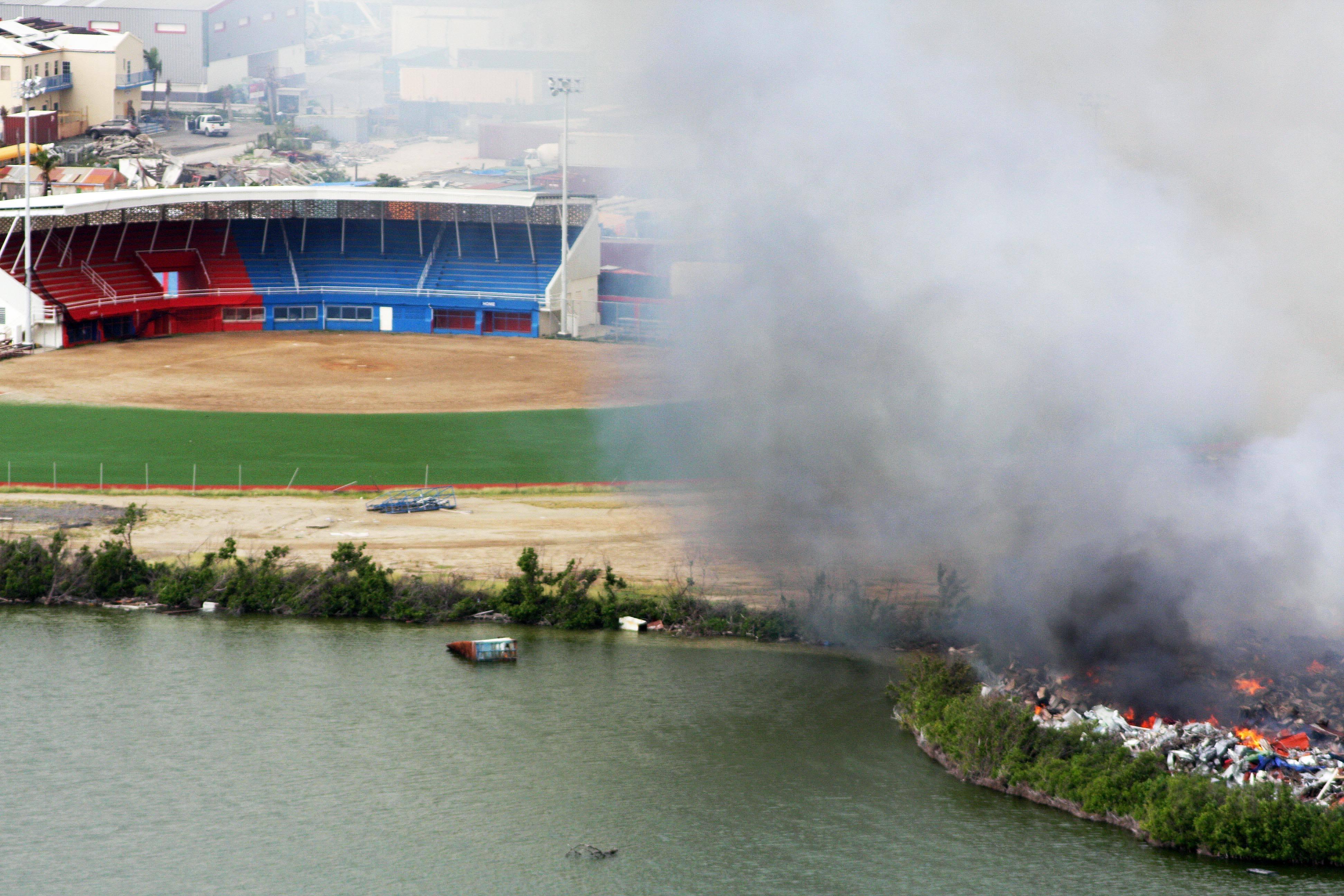 Irma Dump Fire next to Little League Stadium