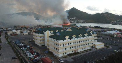 Landfill dump fire government building Pond Island