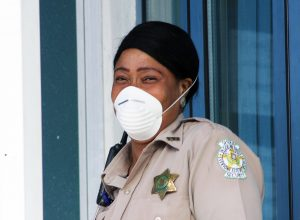 Sheriff Security Officer wearing facemask