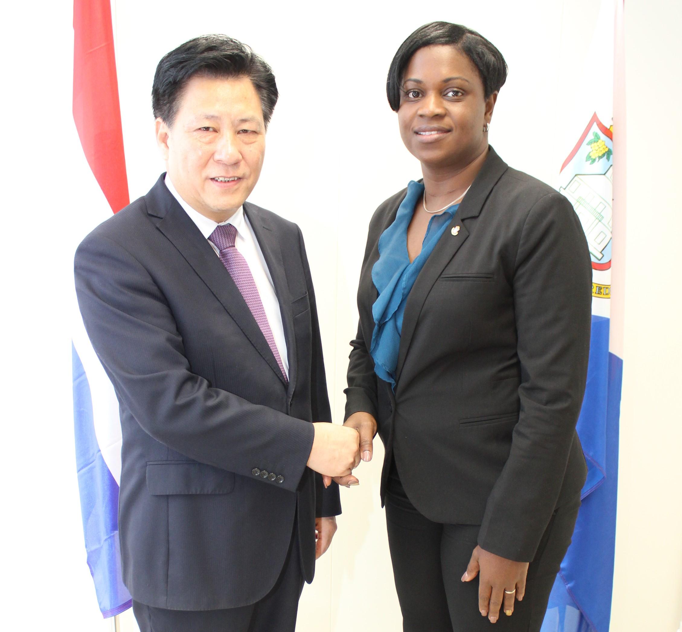 Chinese Consul courtesy visit PM Leona Marlin-Romeo