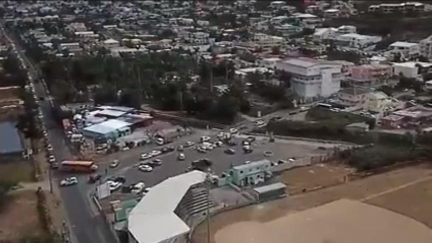 Screenshot Drone Footage Traffic Diversion via Coralita Road from LB Scot Road