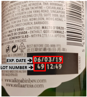 picture codes Stella Artois recalled beers