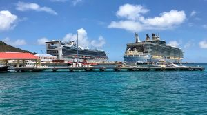 Cruise ships docked at Port St Maarten