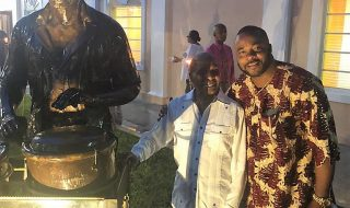 Sculptor Mike with Calypsonian statue unveiled