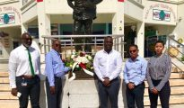 Wreath laying Dr Wathey 2018 Birthday Observance