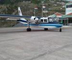SXM Airways BN Islander aircraft parked at Saba Airport