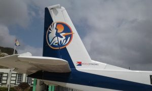 SXM Airways representing SXMstrong in Saba