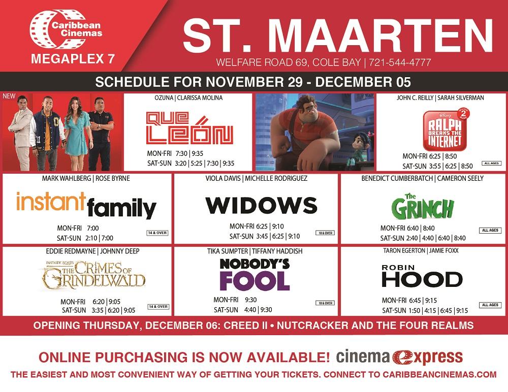 Caribbean Cinemas St.Maarten Schedule 2018 Nov 29-Dec 05