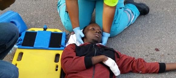 Acident scene with PSVE student still suffering 201811205