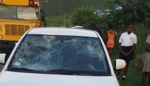 Acident scene with car that hit PSVE student