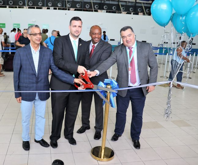 SXM Airport ribbon cutting ceremony opening temp terminal building