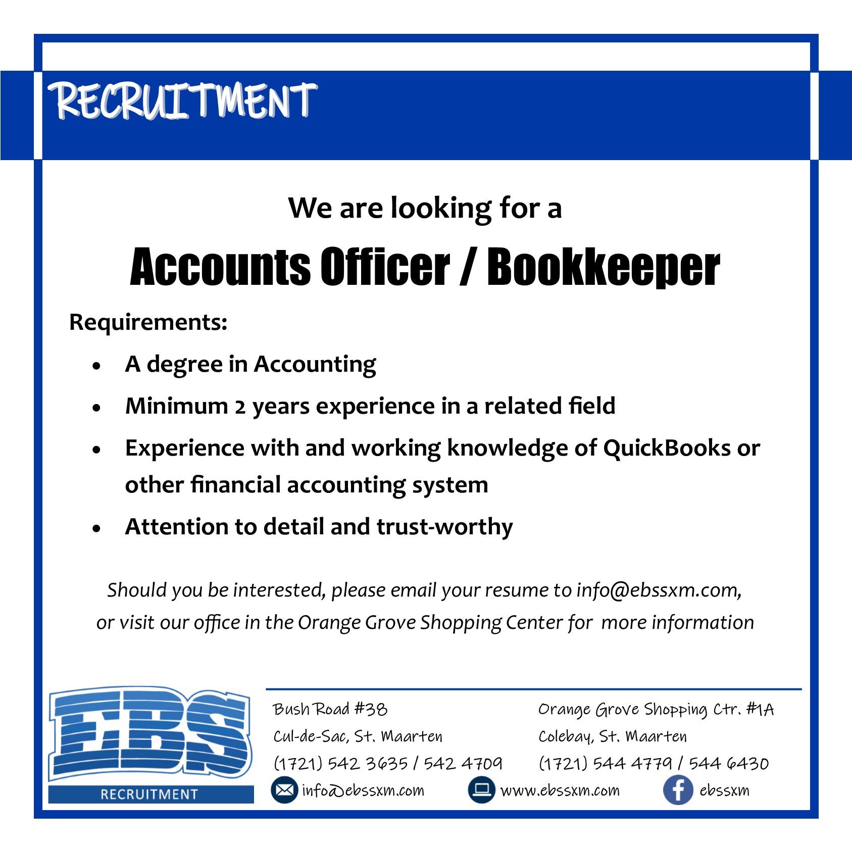 EBS SXM accounts officer vacancy