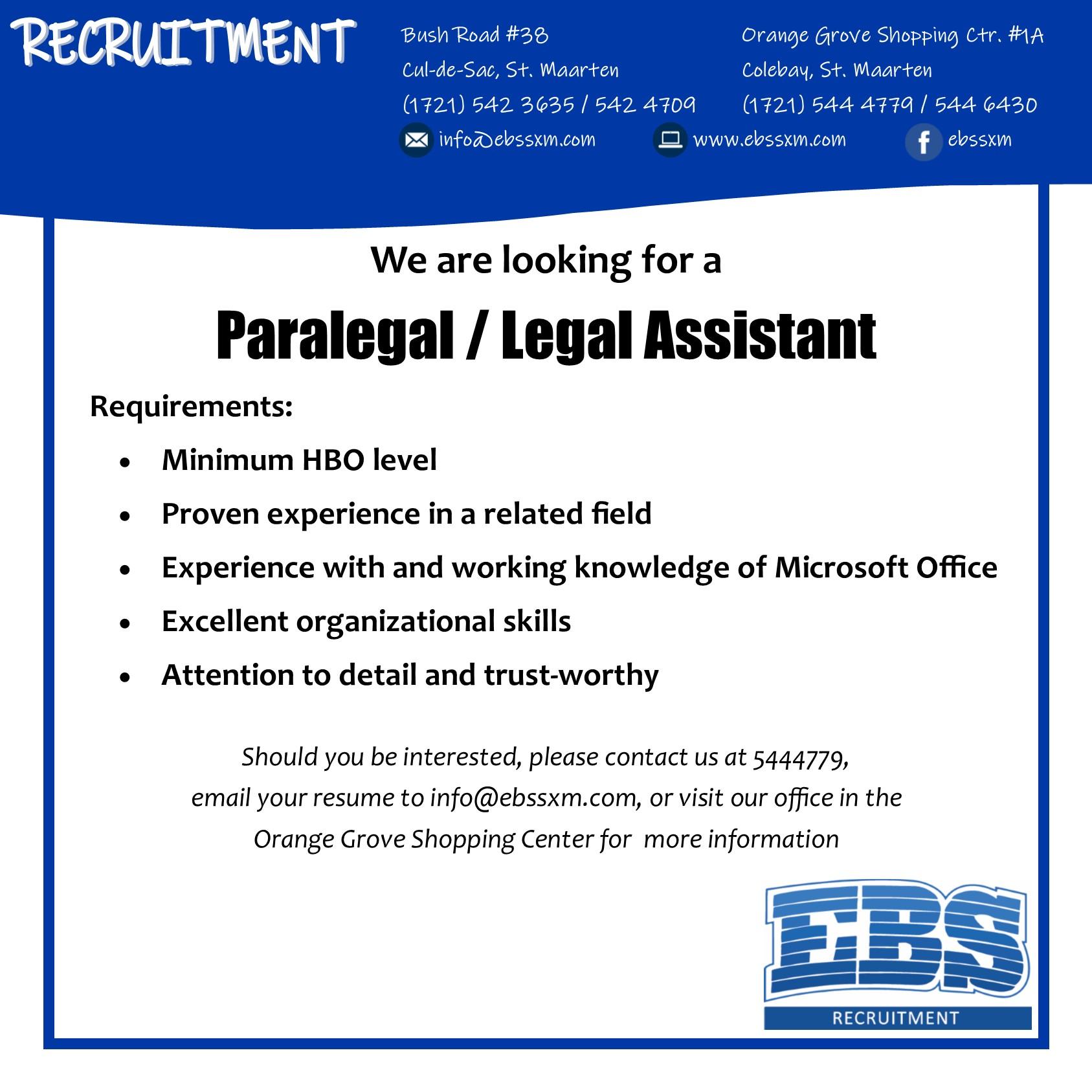 EBS SXM paralegal vacancy