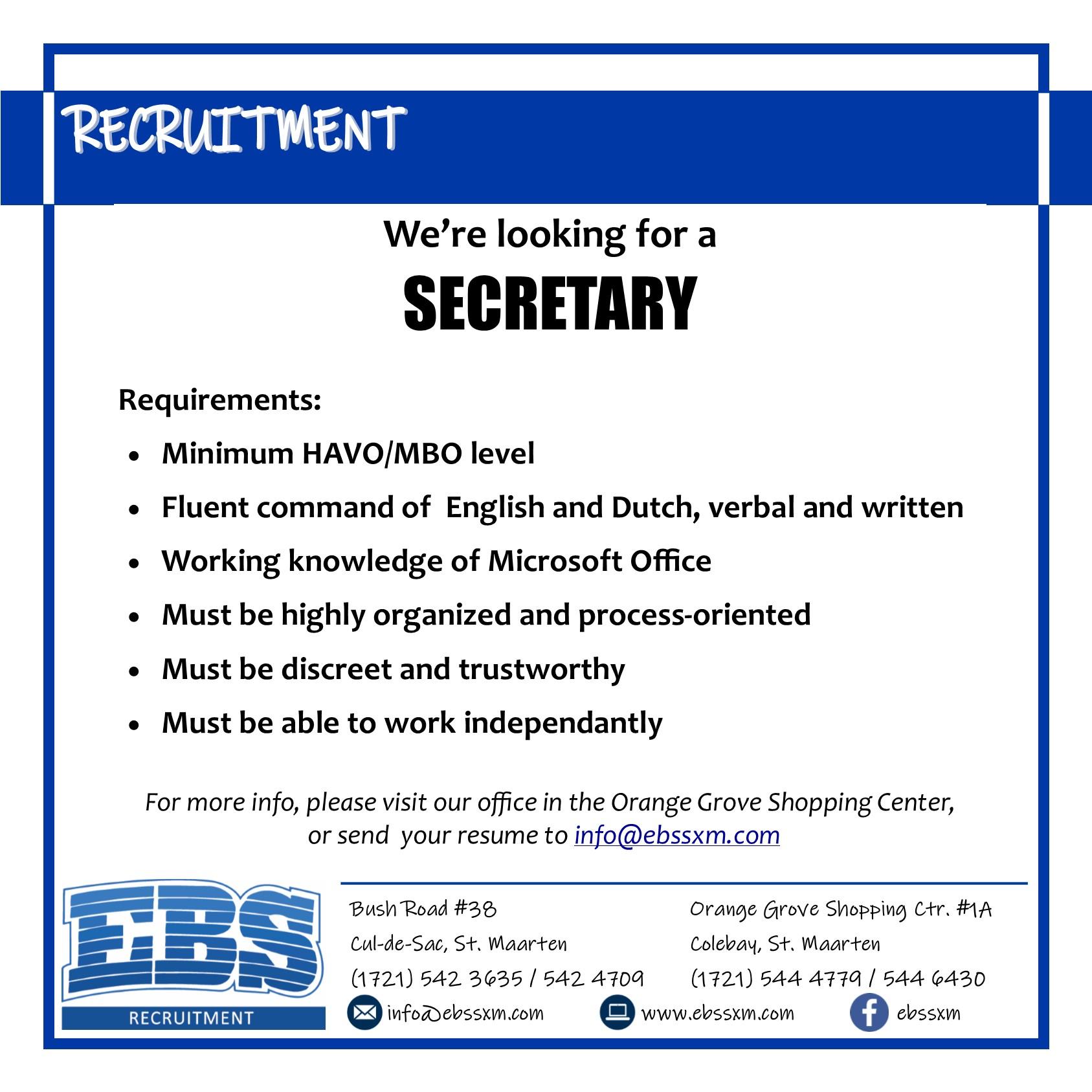 EBS SXM secretary vacancy