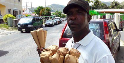 Herman Maurice selling peanuts