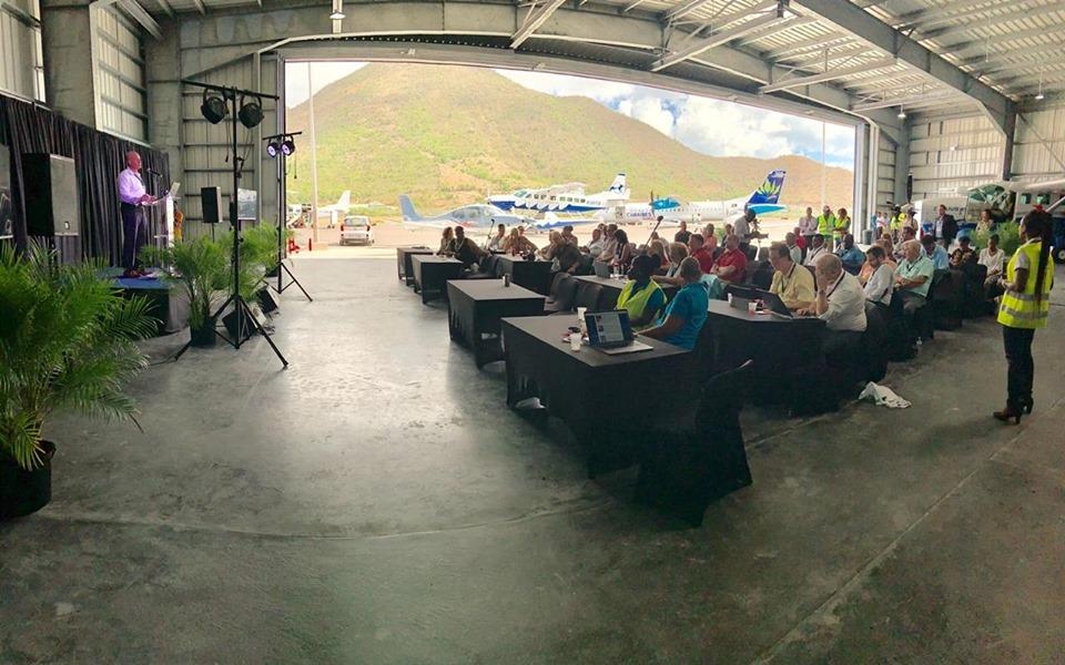 President Daniel Gibbs speaking at CaribAvia 2019 at Grand Case Airport