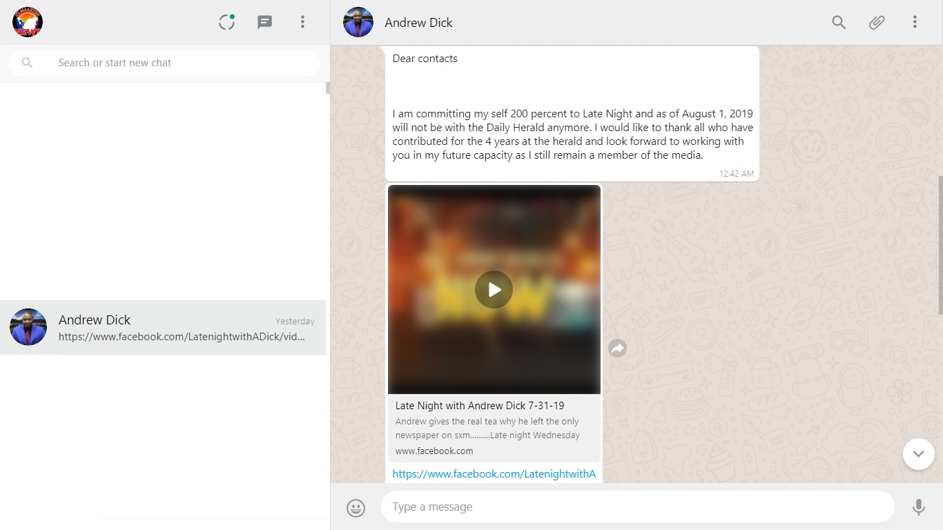 Screenshot Andrew Dick Whatsapp Broadcasts - 31 Jul 2019
