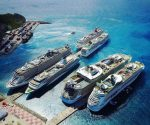 Aerial shot Port StMaarten with cruise ships