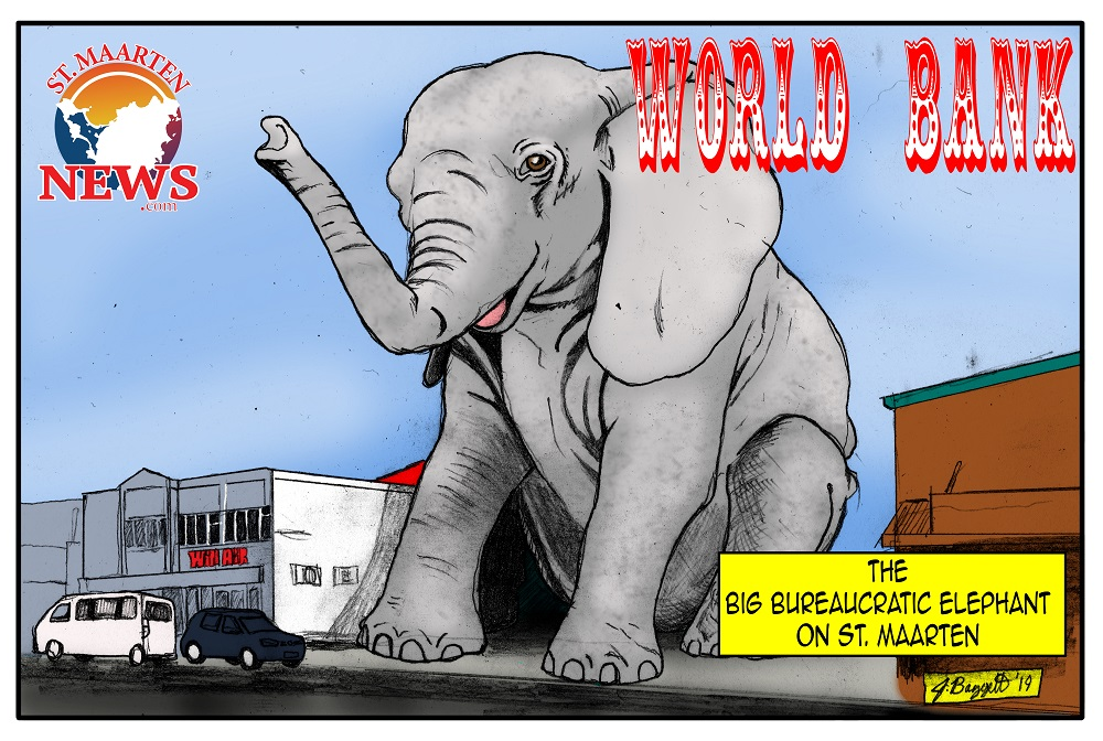 World Bank Elephant on St. Maarten - cartoon