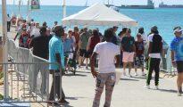 Cruise passengers arriving at pier Walter Plantz Square - 20191209 JH