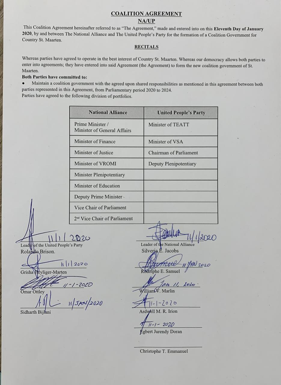 NA-UP sign coalition agreement - 11 Jan 2020