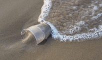 Plastic cup in the sand