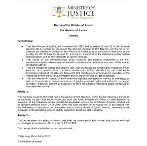 09. Landscourant - National Gazette 03 april 2020 - P20 - Decree Minister of Justice