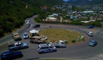 Police road controls Cay Hill roundabout - Fly4U SXM