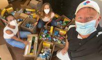 Good Samaritans donating food boxes