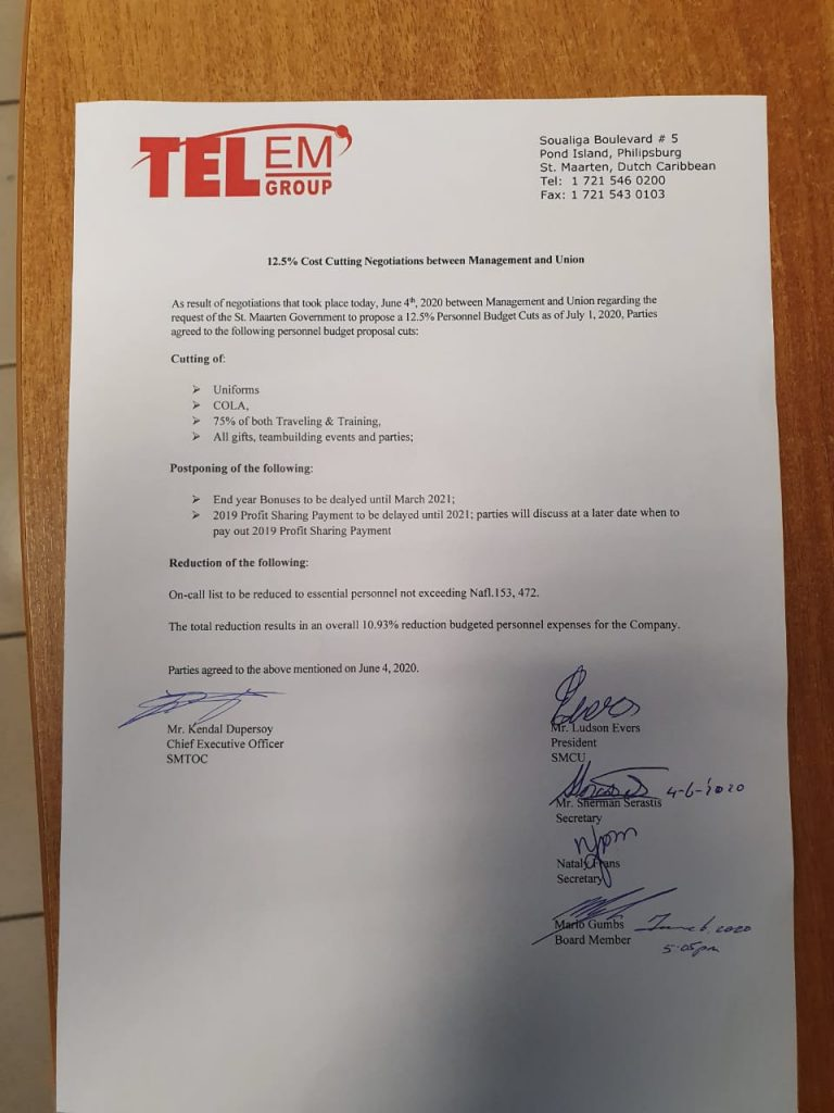 Agreement TelEm with Union on Cost-Cutting Measures