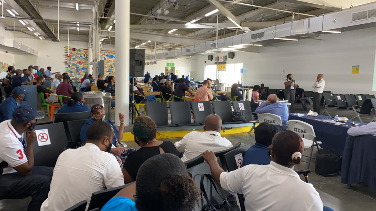 Airport workers in meeting with Airport CEO