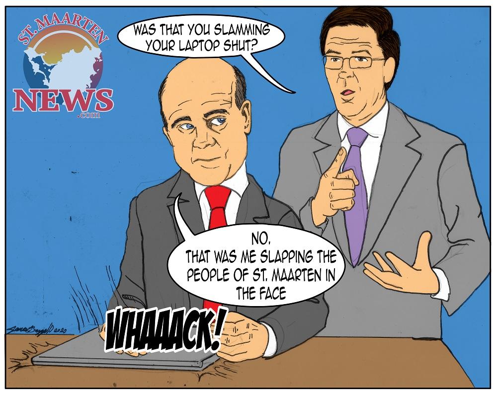 Statesecretary Knops Slaps St. Maarten People - Cartoon