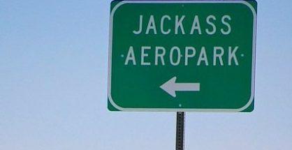 Jackass Airport sign